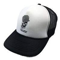 Obryans Mens Adjustable Snap Back Mesh Hat Skull Logo Cap Black White Foam