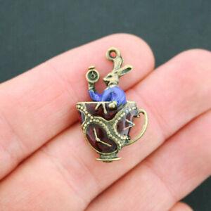 Rabbit Teacup Enamel Charms Antique Bronze Tone Alice in Wonderland - BC976