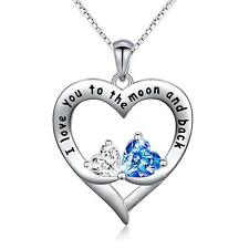 Gifts For Wife Girlfriend Women Her Double Love Heart Necklace - Anniversary
