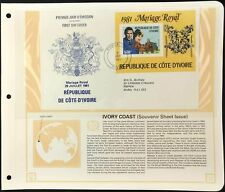 Ivory Coast 1981 Royal Wedding M/S FDC + Info Page #V6459