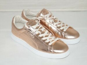 NWOB Authentic PUMA Rose Gold Metallic Leather Sneakers Size 9 M
