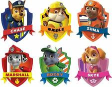 "PAW PATROL SHIELD WALL LAPTOP STICKER SET ART KIDS DECAL Stickers 4"" EACH"