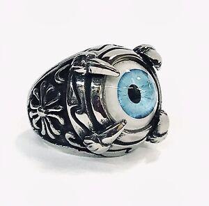 Stainless Steel Men's Biker Style Ring Size 7.5 Eyeball Claws Blue Eye 18 Grams