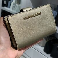 Michael Kors Womens Bifold Leather Coin Wallet Credit Card id Holder Pale Gold