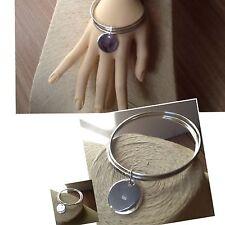 3 Bracelet   Jonc  Argent 925 & breloque  Rond Idéal Cadeau  T 65 cm/ 60 cm