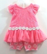 Girls 0-3 Months Coral Lace Daisy Flowers Tulle Trim Two Piece Outfit New