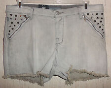 "NWT WOMENS ROCK & REPUBLIC PIXIE GRAY ""ARMOUR"" CUT OFF STYLE SHORTS   SIZE 14"