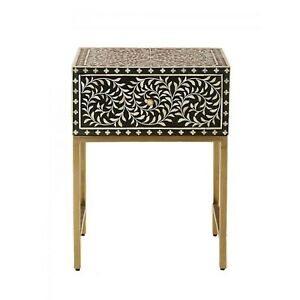 Bone Inlay Square lamp Table on metal stand (MADE TO ORDER)