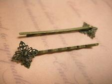 4pc antique bronze hair clips with filigree setting-5869