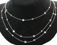 """15 carat Round Diamond By The Yard 18k White Gold Necklace 64 x 0.28 ct each 44"""""""