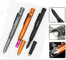 Led Self Defense Tactical Pen Glass Breaker Survival Knife Whistle With Battery