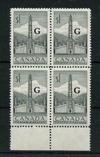 VF MNH O32 block of 4 G overprint Totem Pole #321 stamp Cat $72 Canada mint