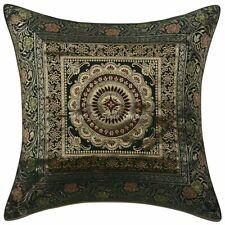 Decorative Brocade Mandala Green 40x40 cm Jacquard Throw Couch Pillow Cover