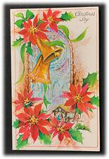 Vintage Holy Christmas Joy Poinsettia Church Bells Wishing You Peace Card