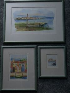 Atmospheric collection watercolour paintings x 3 of Venice, framed & signed.