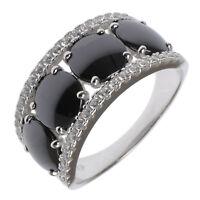Damen Cocktail Ring echt Silber 925 Sterling rhodiniert mit Zirkonia und Keramik