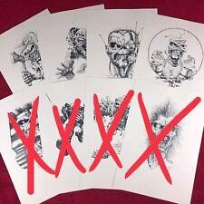 Lot of 4x Authentic Derek Riggs (Eddie Iron Maiden) Prints - Horror Expo BR 19