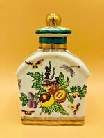 Vintage Ceramic Flask White/Gild Hand-painted