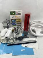 Red Nintendo Wii Console Bundle RVL-001 w/ 1 Remotes 1 Nunchuck Game Wheels