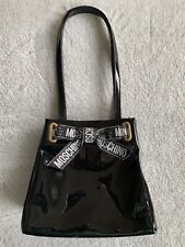 Authentic MOSCHINO Shoulder Bag Black Patent leather Ribbon Bow