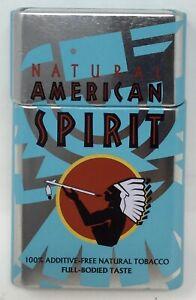 Natural American Spirit Flip Top Cigarette Tin Case Full Bodied Blue Round Edge!
