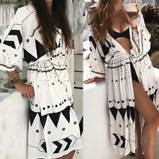 Women Beach Wear Bikini Cover Up Vintage Boho Bohemia Wrap Cardigan Maxi Dress
