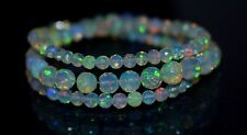 40 Cts Natural Ethiopian Opal Faceted Balls Flashy Fire Balls Necklace 3X6 MM.