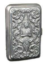 Old Exclusive Antique Sliver Beautiful Repousse Cigarette Or Card Case.G10-62 US