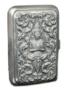 Old Exclusive Antique Sliver Beautiful Repousse Cigarette Or Card Case.G10-62
