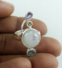 RINGS SOLID 925 STERLING SILVER NATURAL RAINBOW MOONSTONE JEWELRY 7.9 GM US 6.5