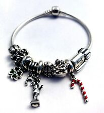 Authentic Pandora Bracelet With 10 Authentic Pandora Charms 7""