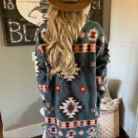 L New Cowichan Fringe Long Cardigan Sweater Top Blue Jacket Women's LARGE NWT
