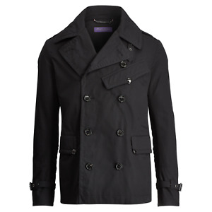 Ralph Lauren Purple Label Black Cotton Twill Peacoat Jacket New