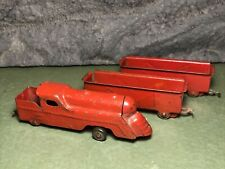 Vintage Wyandotte Marx | Pressed Steel Red Train Engine & 2 Freight Cars | Usa