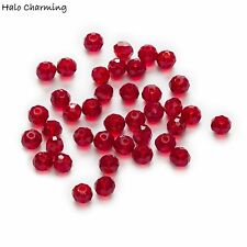 50 Piece Red Crystal Glass Beads Quartz Faceted Rondelle Jewelry Making 4-8mm