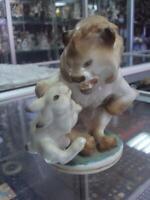 Fairy tale Lion with hare Lomonosov LFZ Soviet russian porcelain figurine 1712u