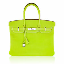Hermes Birkin 35 Kiwi and Lichen Epsom Leather PHW Handbag Purse