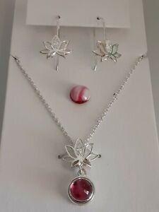 Sterling Silver Lotus Flower Pink Tourmaline Pendant / Chain/ Earrings Set