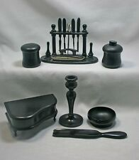 Antique 12 piece Real Ebony Dresser Manicure Set Made in England Dated 1922