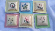 Vintage collection of My Treasure Perfume Embroidered Pillows Nib Handstitched