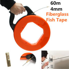 60m Wire Cable Fiberglass Fish Tape Reel Conduit Ducting Rodder Pulling