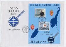 FDC D93 Isle of Man 1980 Block Norwegian King Olav V Ship