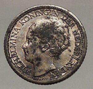 1944 CURACAO Netherlands Kingdom Queen WILHELMINA 1/4 Gulden Silver Coin i57190