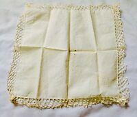 "Antique Vintage Hankie Handkerchief Ivory Lace Trim 10"" Crochet Monogram"