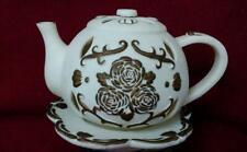 PartyLite Tea Time Teapot Tea Light Holder P7301 Bisque Ivory Gold Roses