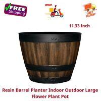 Resin Barrel Planter Indoor Outdoor Large Flower Plant Pot Garden, 11.33 Inch