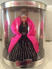 NIB 1998 Happy Holidays Blonde Barbie Doll Black Velvet Gown Special Edition 6+