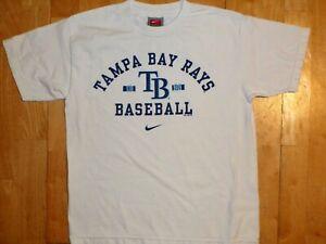 NIKE Youth MLB TAMPA BAY RAYS Baseball Athletic Large L White Short Sleeve Shirt