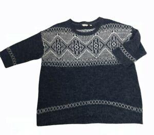 Ladies Fatface Fairisle Nordic scandi Jumper sweater Size M / L 16 Blue grey VGC