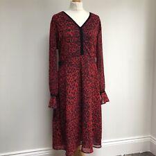 SOSANDAR Dress Size 18 Red Leopard Print Midi V Neck Long Sleeve